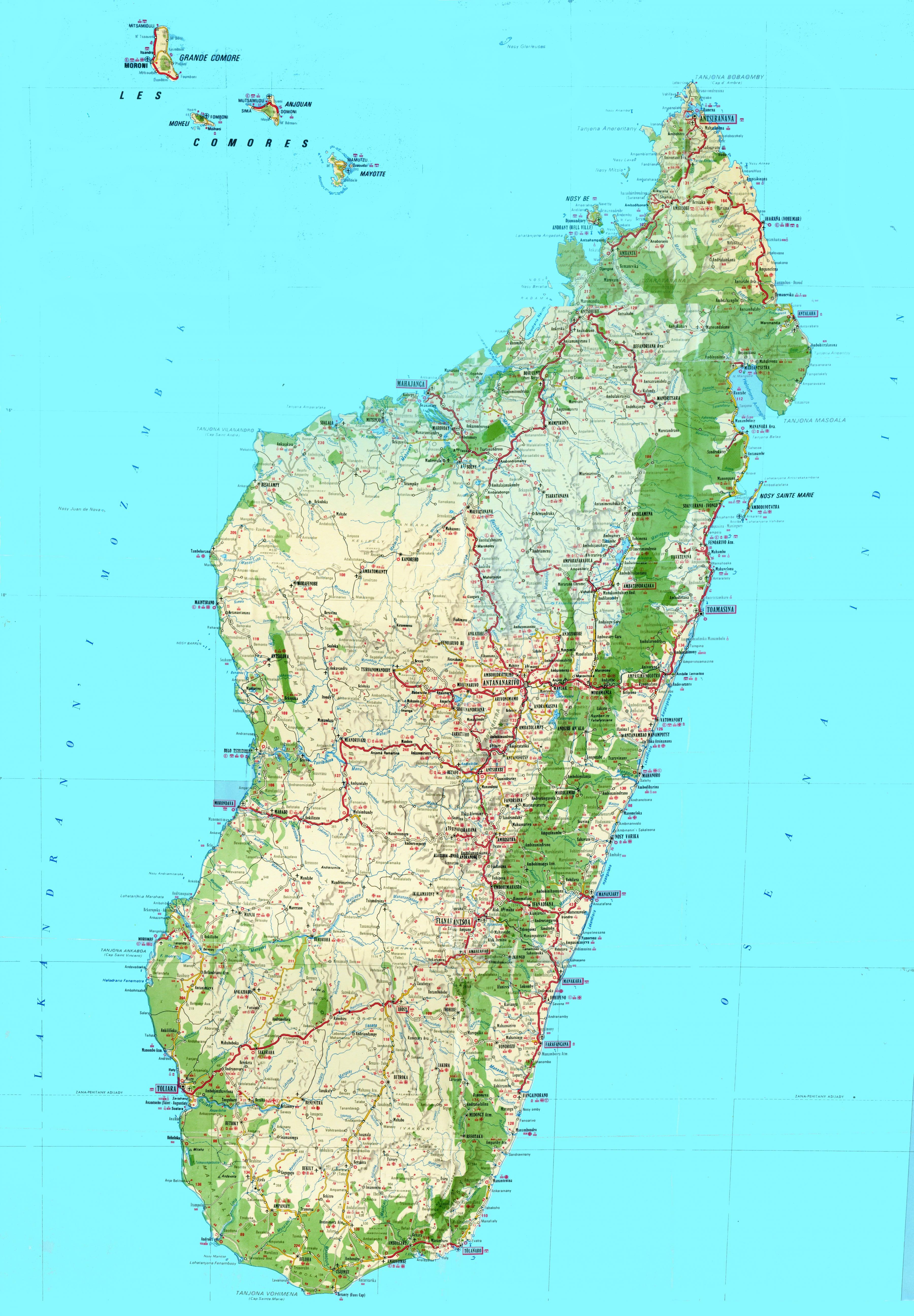 kart over madagaskar Madagaskar topografiske kart   Kart over Madagaskar topografiske  kart over madagaskar
